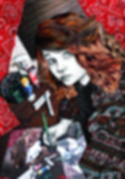 A recursive mixed-media self-portrait by Sofiya Kuzmina