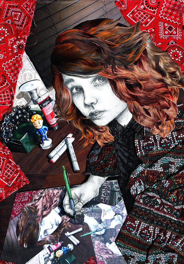 A recursive mixed-media self-portrait by Sofiya Kuzmina