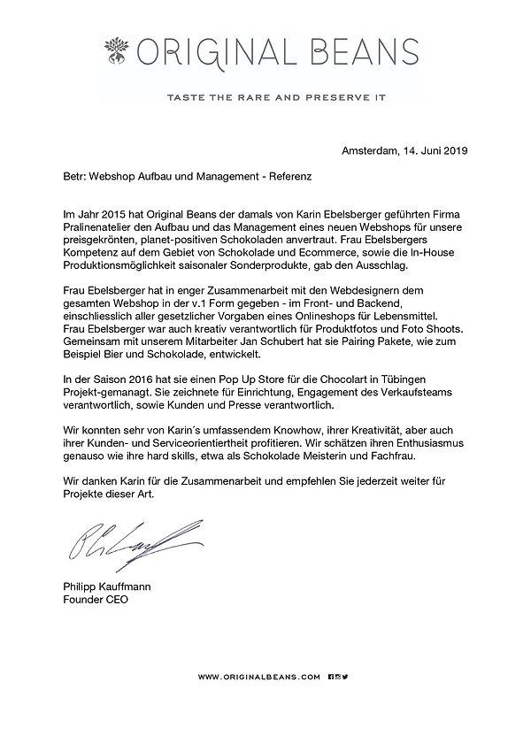 ORIGINAL BEANS Referenz Karin Ebelsberge