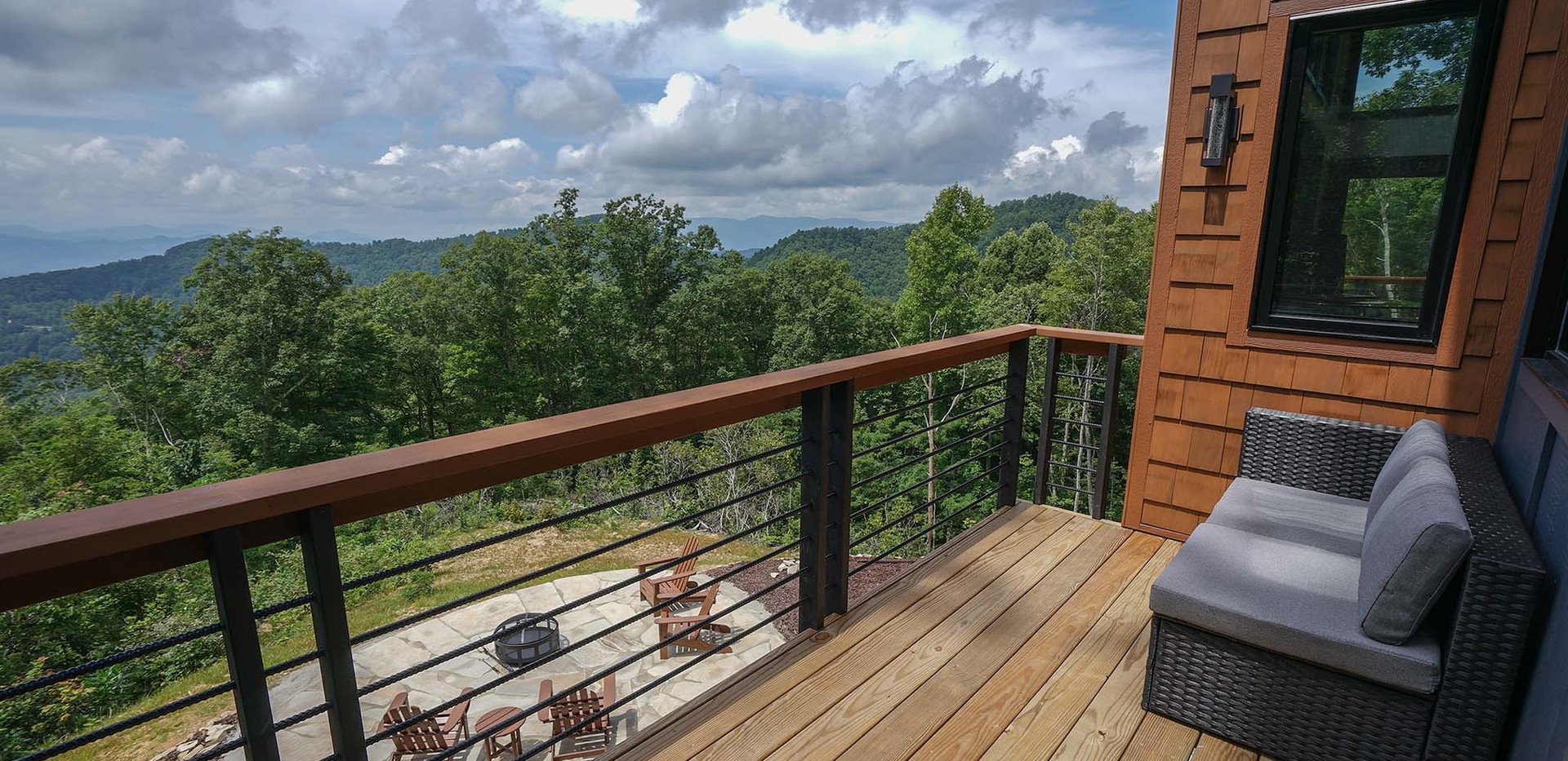 Sunset Falls - master bedroom deck view