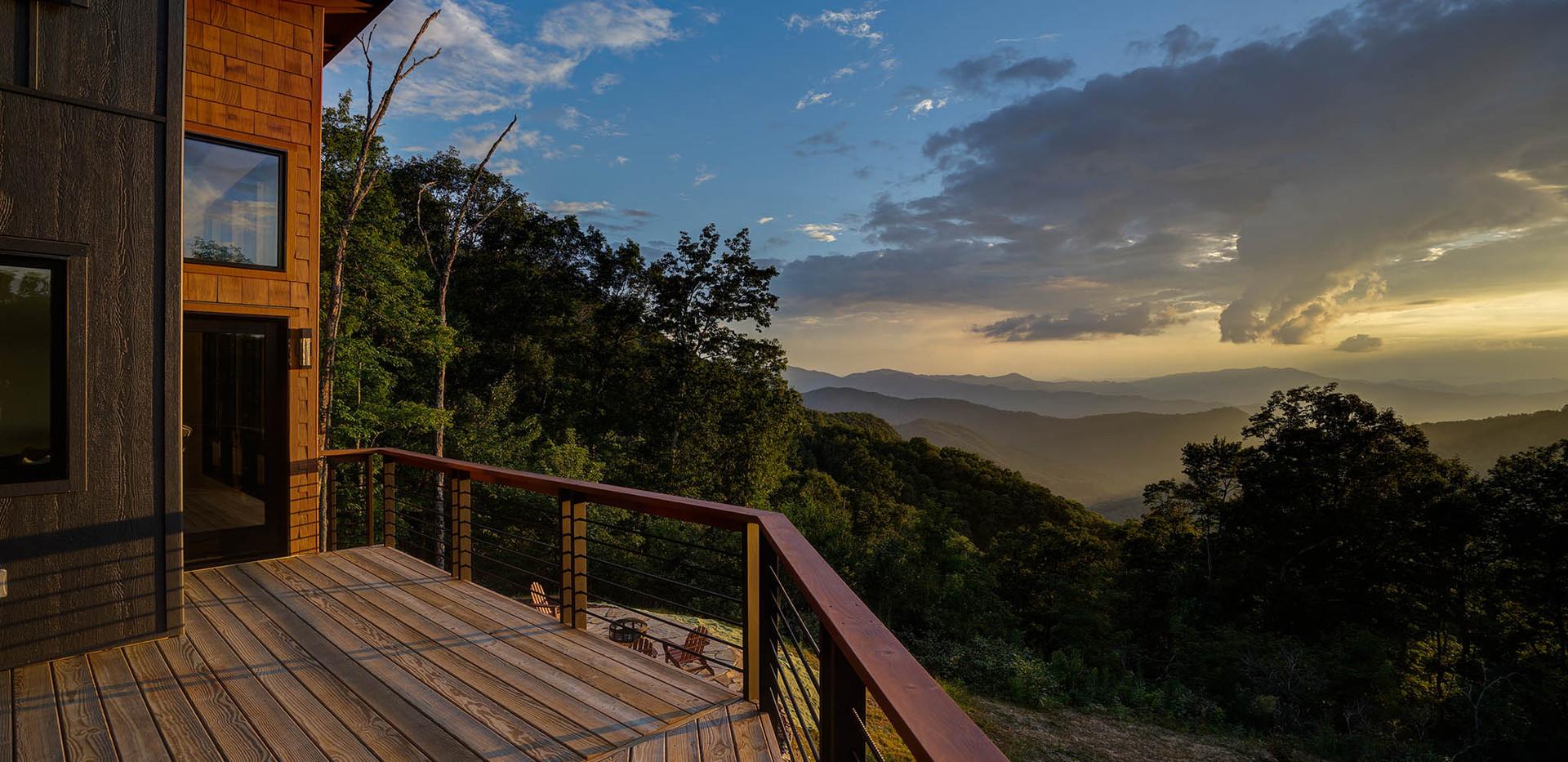 Sunset Falls - deck sun setting
