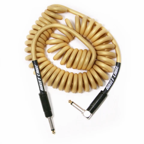 Bullet Coil Cable for Guitar, Bass or Keyboard - 15 ft - Gold