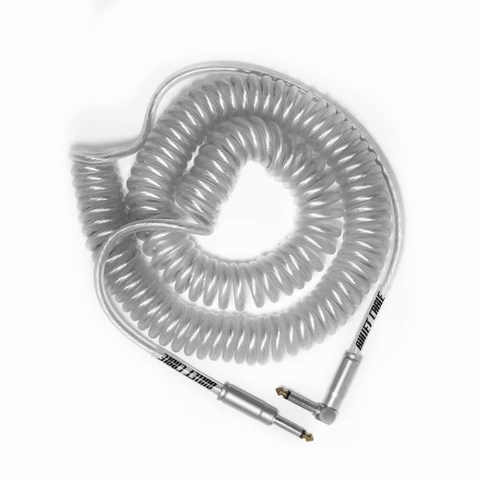 Bullet Coil Cable for Guitar, Bass or Keyboard - 30 ft - Clear