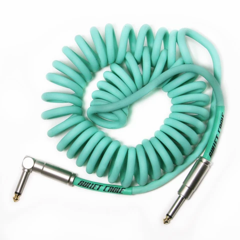 Bullet Coil Cable for Guitar, Bass or Keyboard - 15 ft - Sea Foam Green