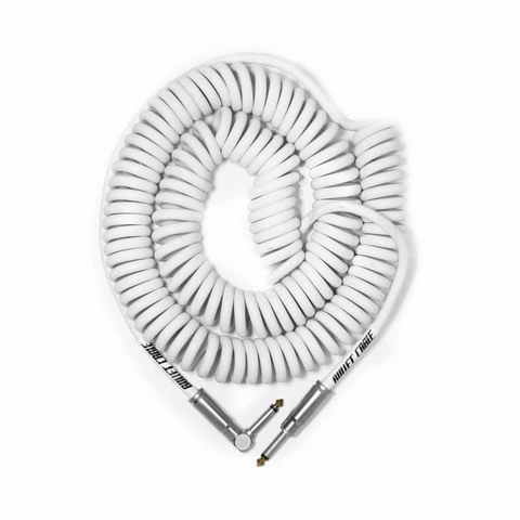 Bullet Coil Cable for Guitar, Bass or Keyboard - 30 ft - White