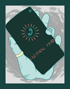 Artwork by Maverick Lumen of a teal hand holding a phone.