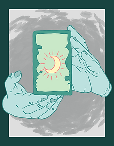 Artwork by Maverick Lumen of two teal hands hold a tarot card towards the viewer.