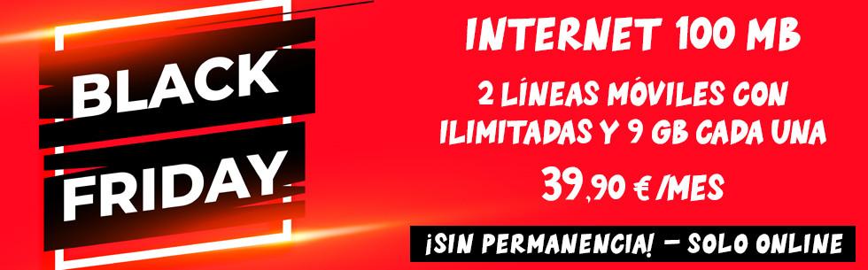 100 Mb y dos líneas con ilimitadas y 9 Gb por 39,90 €/mes