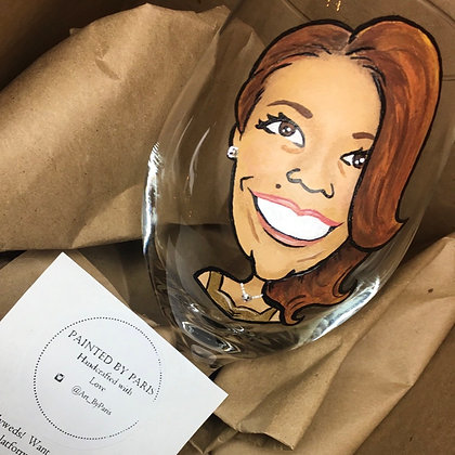 Portrait Caricature- Hand Painted Wine Glass