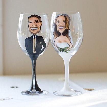 Bride & Groom - Hand Painted Wine Glass
