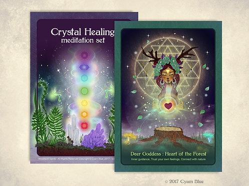 """Limited Edition - Altar card + Crystal Healing meditation set - """"Deer Goddess: H"""