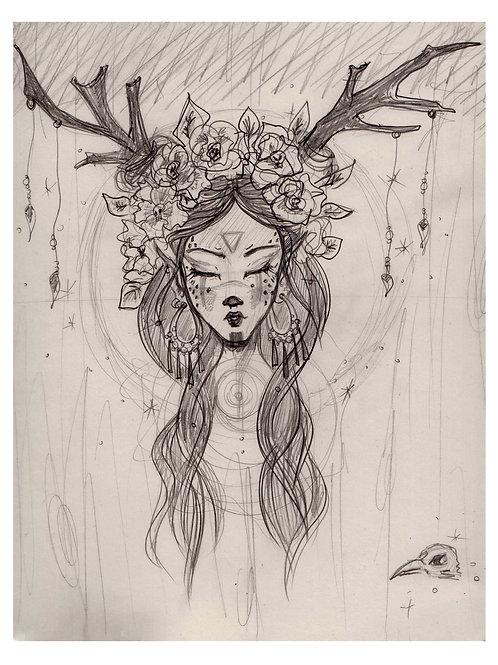 """A4 print-""""Deer Goddess"""""""