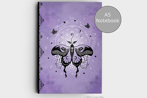 "Notebook A5 -""Moth Magic""-Lined pages"
