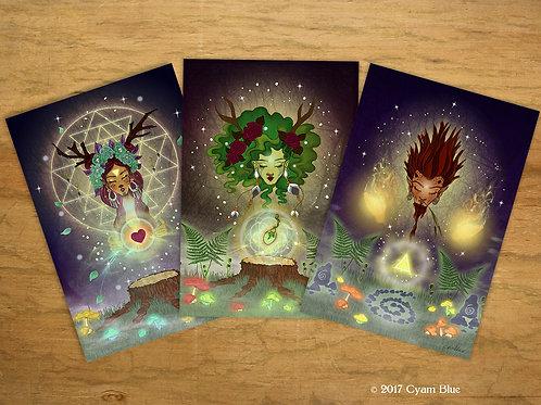 "Set of 3 Mini Prints // Postcards-""Woodland Spirits"""