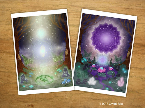 "Set of 2 Mini Prints // Postcard-""Inner Forest"""