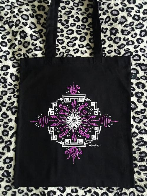 "Organic Tote Bag - ""Electric Flower"""