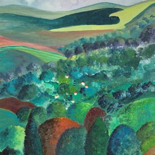 'Toward the Downs' -oils & mixed media 36 x 50 cm. £220 framed.
