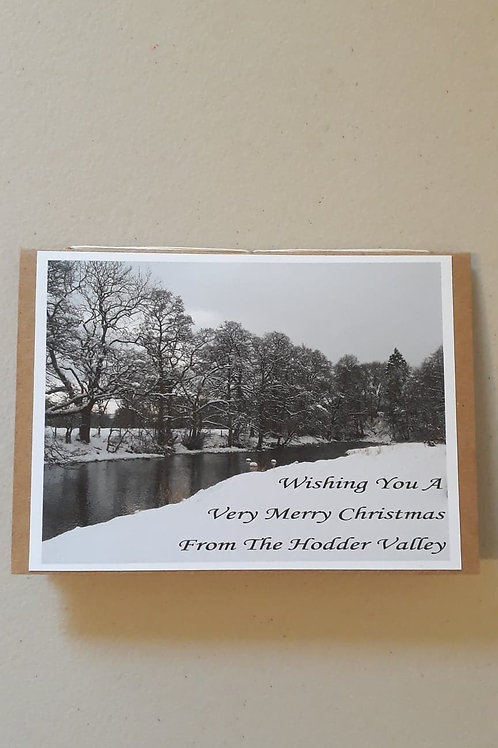 River Hodder Christmas Card Landscape Hand Made Hand Bound