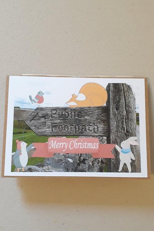 Christmas Footpath Hodder Valley Hand Made Hand Bound