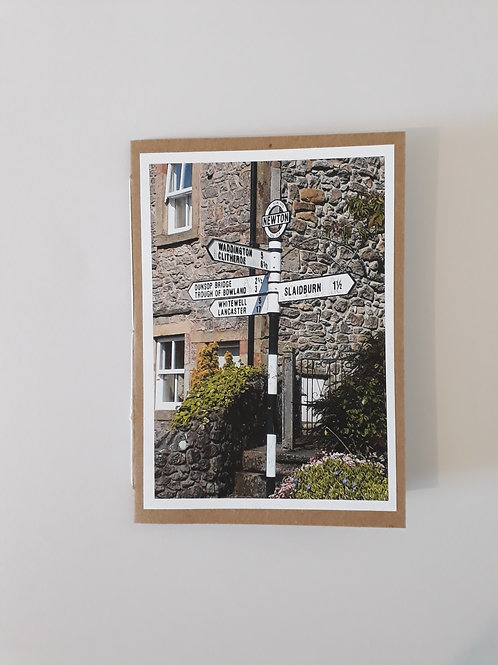Hodder Valley Village Sign Newton In Bowland Greeting Card Handmade