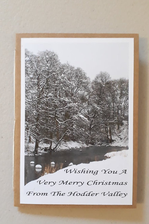 River Hodder Christmas Card Portrait Hand Made Hand Bound