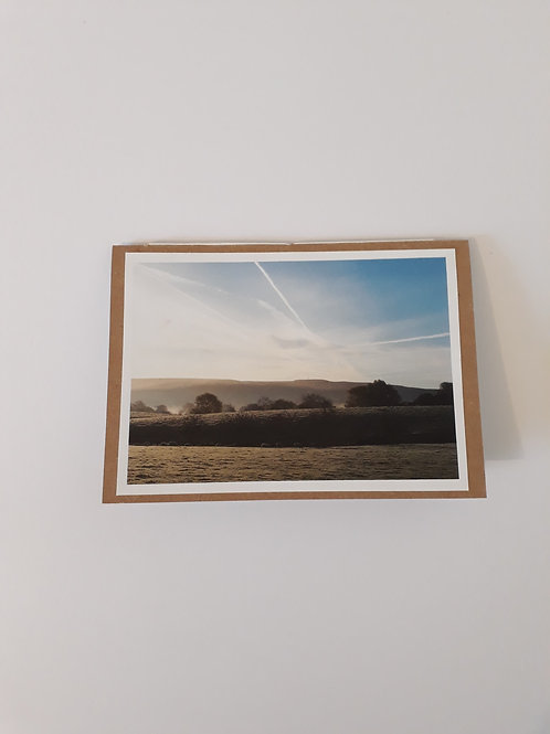 View of the fells around Newton In Bowland Greeting Card Handmade