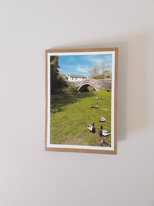 Feeding The Ducks Dunsop Bridge Village Green Greeting Card Handmade