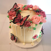 Buttercream Flower Cake with Edible Butterflys