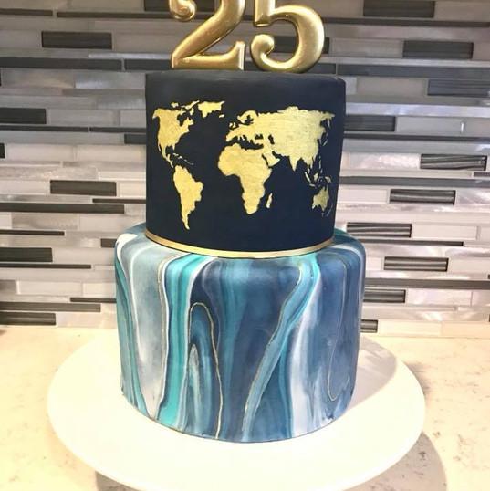 Marble World Map Cake