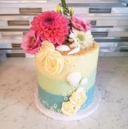 Floral Ocean Theme Bachlorette Cake