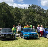 Our cars with members at Mavis's Kitchen