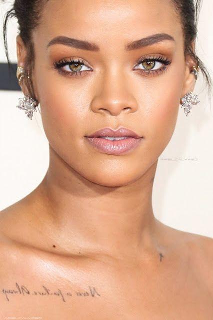Rihanna glowy makeup