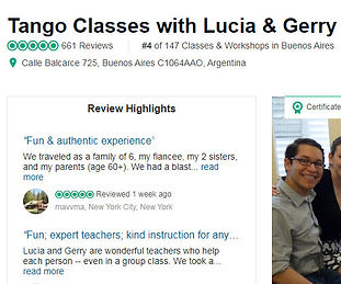 Tango Classes with Lucia & Gerry (Buenos