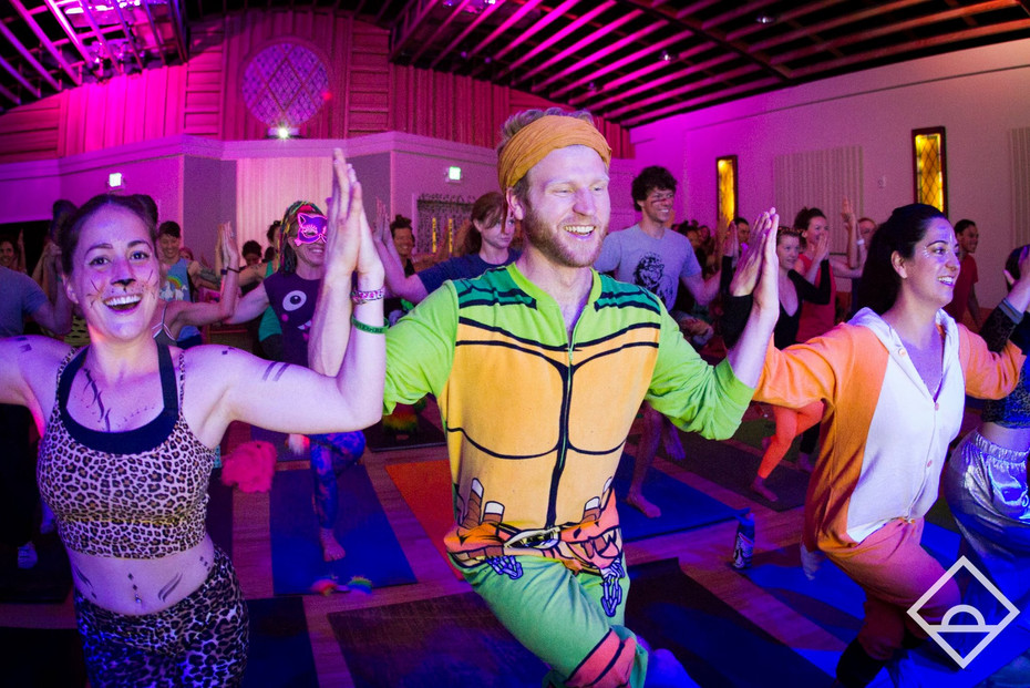 Ninja Turtle Yoga, at Daybreaker in Boulder on Halloween
