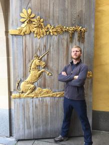 Just me and a Golden Unicorn on a Scottish Castle Door, Edinburgh