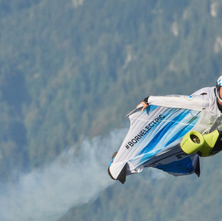 BMW Electrified wingsuit. 185 mph Electric mobility in a new sphere