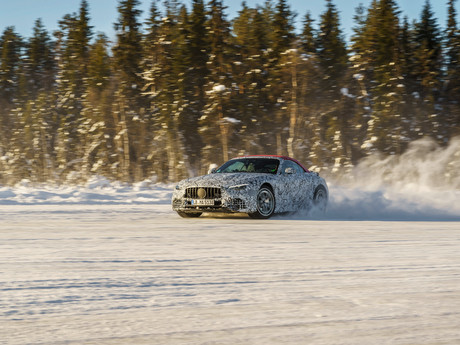 Upcoming Mercedes-AMG SL on a final winter development drive