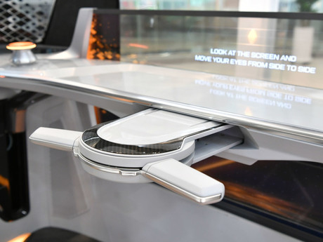 Hyundai Mobis developed a foldable steering system.