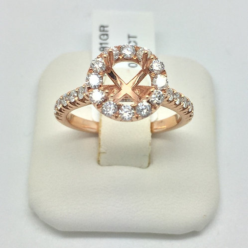Diamond Engagement Halo Setting in Rose Gold