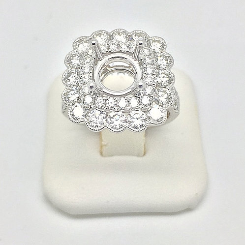Diamond Engagement Halo Setting in White Gold