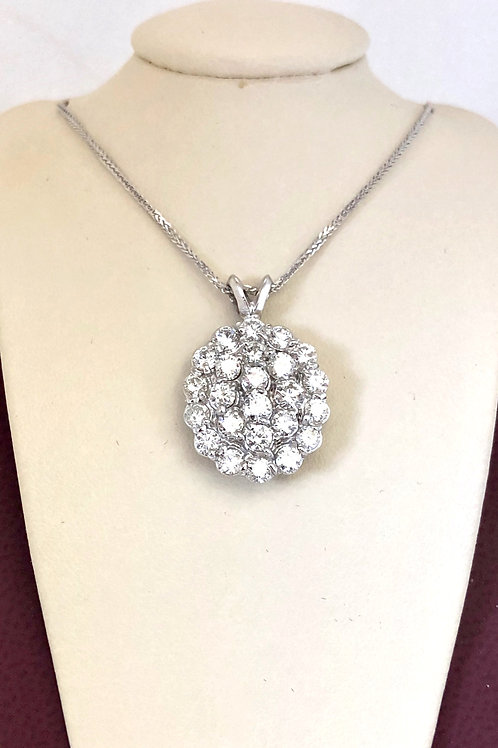 Diamond Pendant In 14kt White Gold