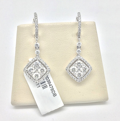 14 Kt White Gold With Diamond Earrings