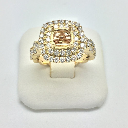 Diamond Engagement Halo Setting in Yellow Gold