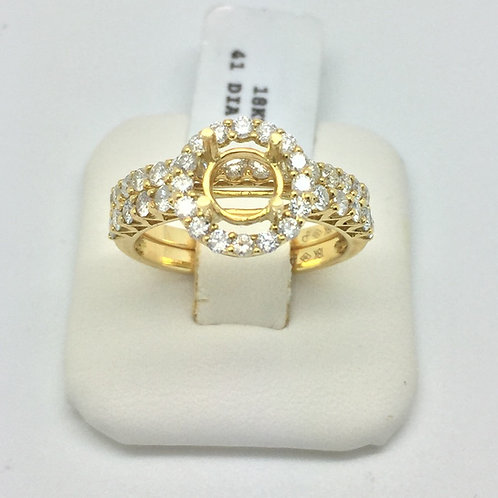 Diamond Engagement Halo Setting in Yellow Gold Matching Set