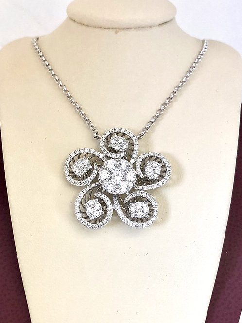 Diamond Pendant In 18kt White Gold