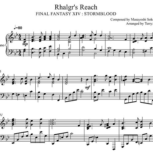 Final Fantasy XIV : Stormblood - Rhalgr's Reach for piano solo ( Arr.by Terry:D