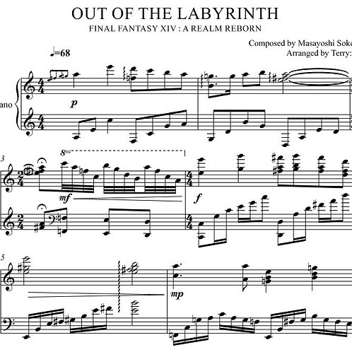 """""""Out of Labyrinth(Arr.by Terry:D)""""for Piano solo from Final Fantasy XIV"""