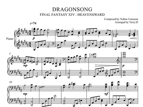 DRAGONSONG(piano instrumental) original key
