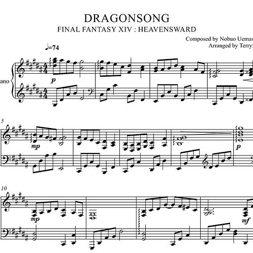 Dragonsong(original key - Arr.by Terry:D) for Piano solo from FINAL FANTASY XIV
