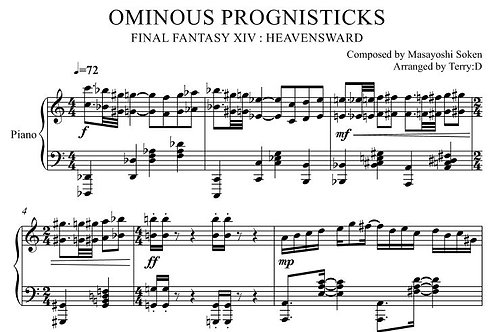 """""""Ominous Prognisticks(Arr.by Terry:D)"""" for Piano solo from Final Fantasy XIV"""